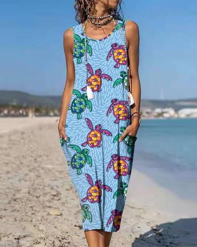 Turtle Pattern Pocket Vest Dress