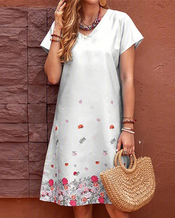 Casual Floral Print V Neck Dress