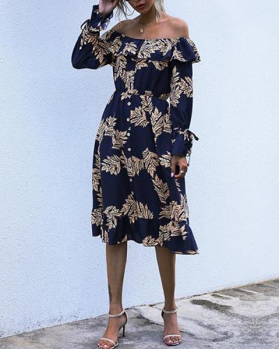 Women's Buttoned Long-Sleeve Leaf Print Dress