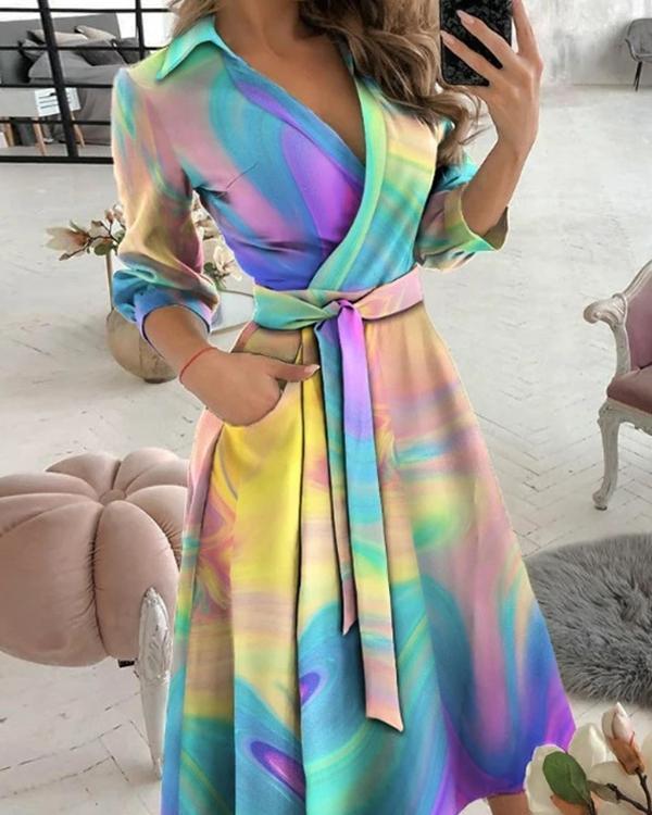 Elegant Tie Dye V Neck 3/4 Sleeve Wrap Midi Dresses