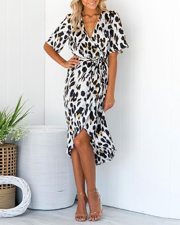 High Low Hem Leopard Animal Print Belted Elegant Midi Wrap Dress