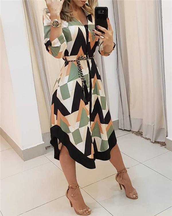 Colorblocked Geo Print Asymmetrical Shirt Dress
