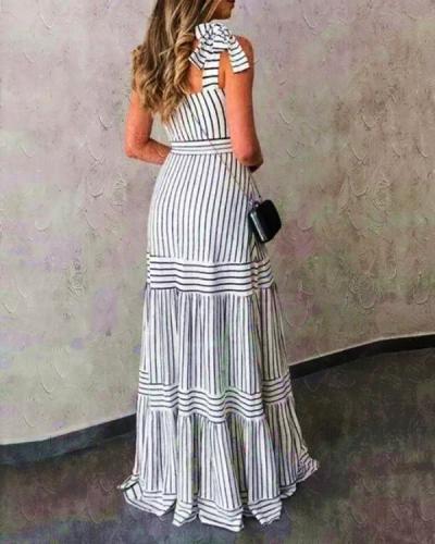 Striped Dress New Bohemian Suspender Dress