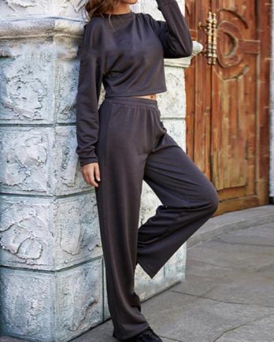 Women Casual Fashion Solid Navy Crop Top&Sweatpants Suit