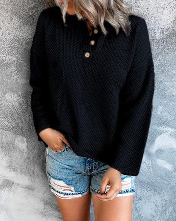 Comfy Cozy Sweater Drop Shoulder Button Up Knitting Top