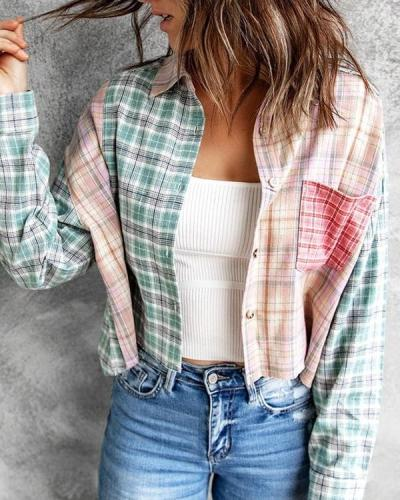 Plaid Stitching Long-sleeved Lapel Tops Outerwear