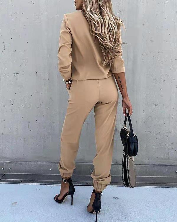Office Lady Outfit Pure Color Long Sleeve Zipper Shirt&Trouser Suit