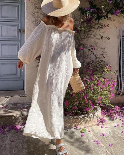 Never In A Hurry Beige Maxi Dress