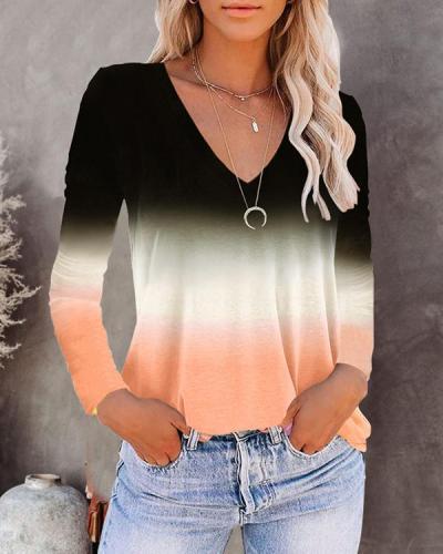 V-neck Long-sleeved Gradient T-shirt