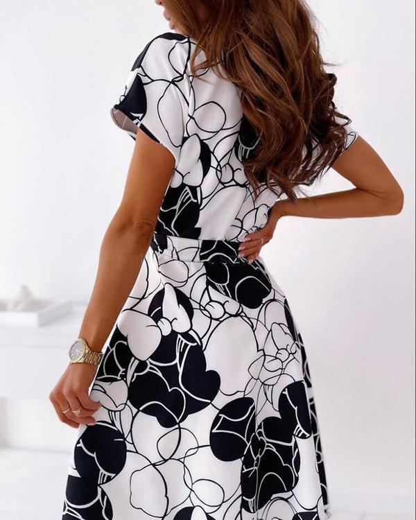 V-neck Short Sleeve Fashion Shirt Dress