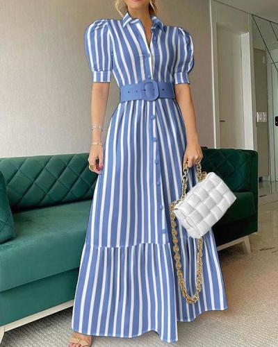 Striped Button Front Puff Sleeve Shirt Dress