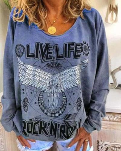 Fashion Round Neck Letter Wings Long-sleeved Printed T-shirt