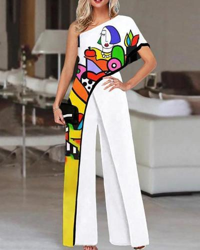 Fashion Contrast Piping One-Sleeve Jumpsuit
