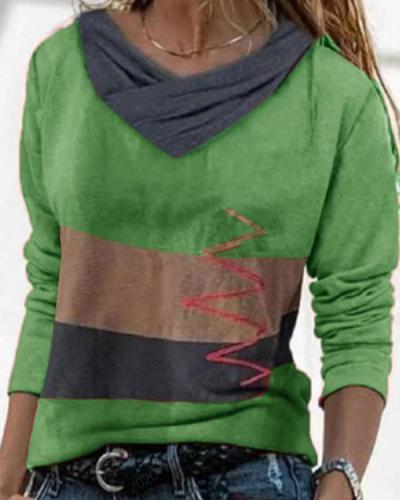V-neck Long Sleeve Printed T-shirt