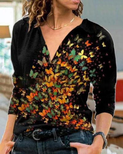 Plus Size Black Color Butterfly Long Sleeve Shirt Tops