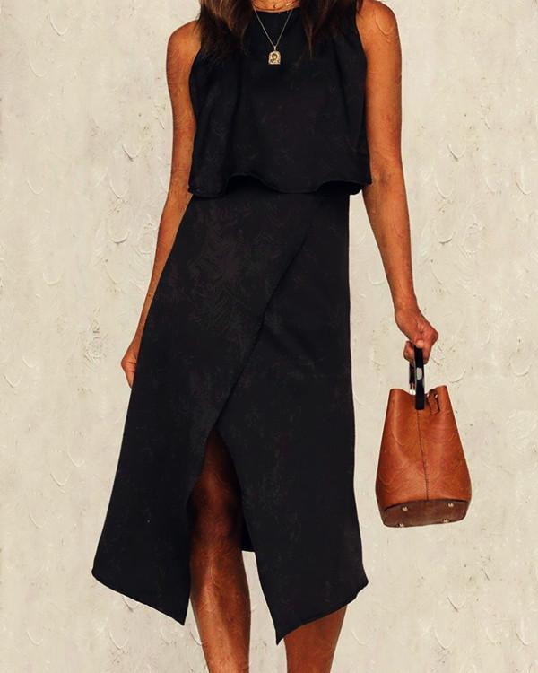 Fashion Sleeveless Round Neck Irregular Dress