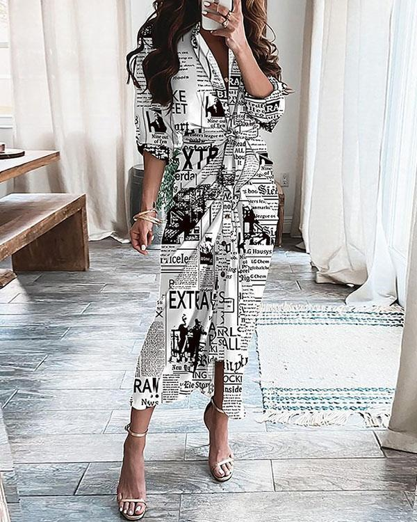 Women Vintage Newspaper Graphic Pleated Belted Maxi Dress