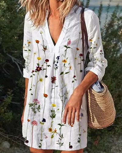 Women 3/4 Sleeve Flower Elegant Mini Dresses
