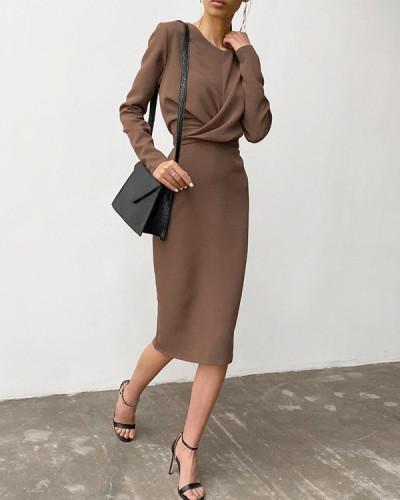Fashion Front Cross Slit Back Pencil Dress