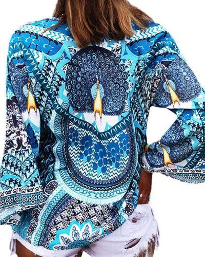 Women's Blue Bohemian Blouse Fashion Long Sleeve Print Tops