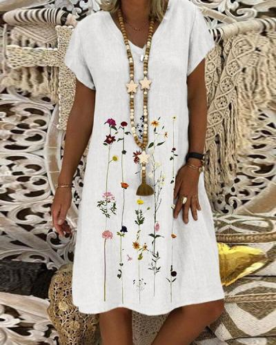 Women Plus Size Sweet Floral A-Line Midi Dresses