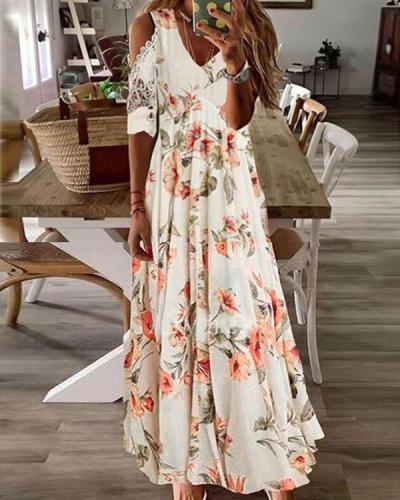 Women Floral Tunic V-Neck Cold Shoulder Lace Maxi A-line Dress