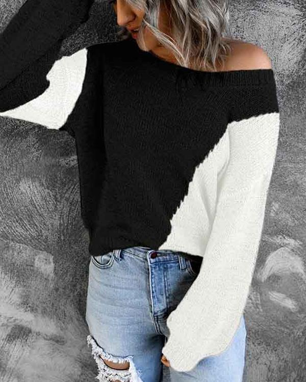 Autumn Knitted Contrast Color Design Pullover Sweater