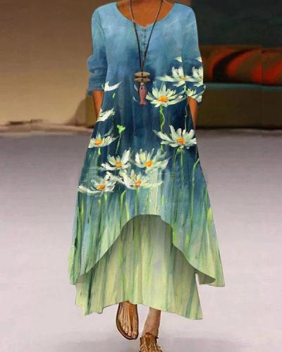Women Autumn Oil Painting Irregular A-line Maxi Dresses