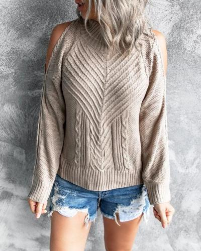 Women's Fashion Open Shoulder Sweater