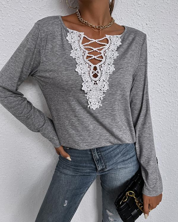 Casual Lace Long-sleeve Tops