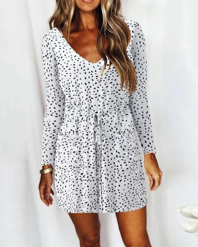Casual V Neck Long Sleeve Print Mini Dress with Drawstring & Pockets