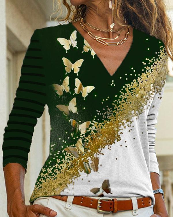 Casual Butterfly Print Women V Neck Blouses Tops