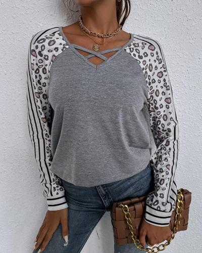 Casual Leopard Long-sleeve Tops