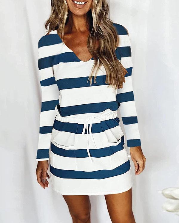 Casual V Neck Long Sleeve Stripe Mini Dress with Drawstring & Pockets