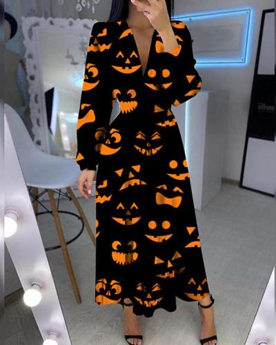 Fashion V-neck Printed Long Sleeve Dress
