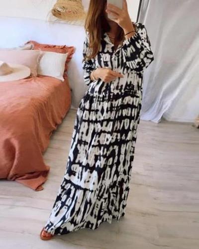 Tie-dye Print Long-sleeved Dress