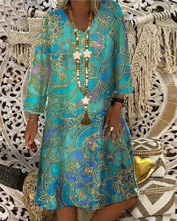 Casual V Neck Vintage Loose Midi Dress Long Sleeve Print Dress