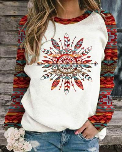Women's Western Ethnic Aztec Print Sweatshirt