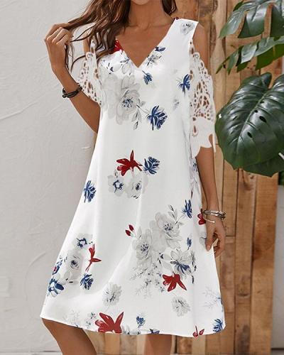 Women V Neck Cold Shoulder Lace Sleeve Print Dress