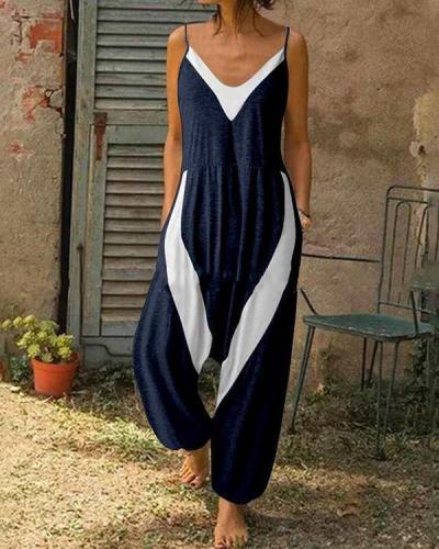 Fashion Contrast Color Block Spaghetti Strap Jumpsuit