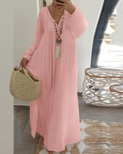 Women Long Sleeve Maxi Dress Cotton V-neck Crochet Lace Casual Loose Maxi Dress