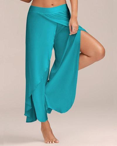 Wide Leg Pants Layered Split Ruffle Women's Sporty Basic Loose Weekend Gym Culottes