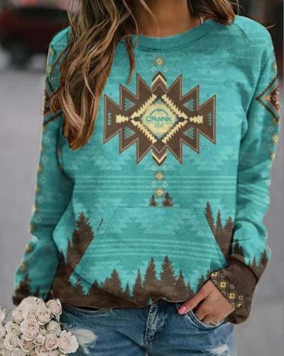 Women's Western Ethnic Print Sweatshirt