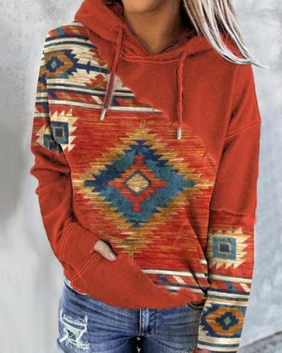 Casual Women's Aztec Print Hoodie