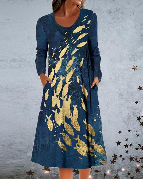 Printed Long Sleeve Pocket A-line Dress