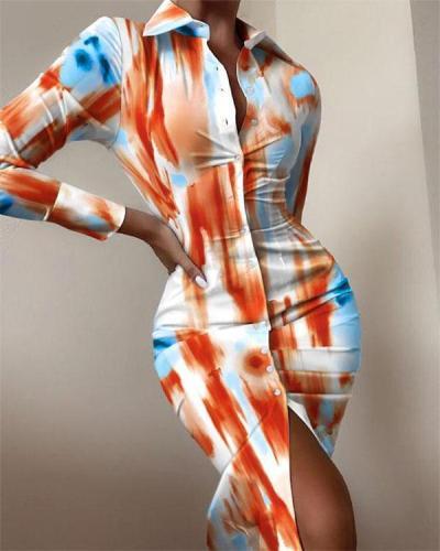 Tie Dye Stripe Print Long-sleeved V-neck Button Bodycon Dress