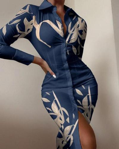 Sexy Flower Leaves Print Long-sleeved Button Slit Bodycon Dress