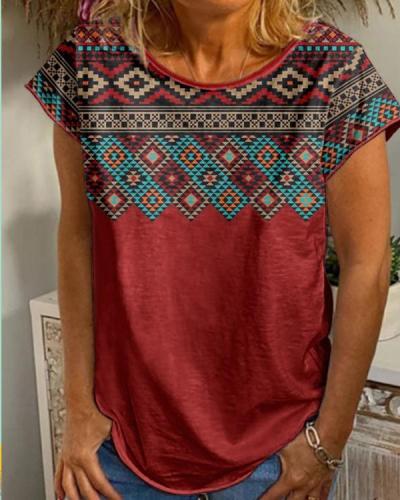 NEW! Print Round Neck Short Sleeves T-shirts