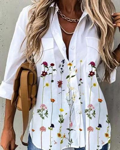 Sweet Floral Shirt Collar 3/4 Sleeves Blouses
