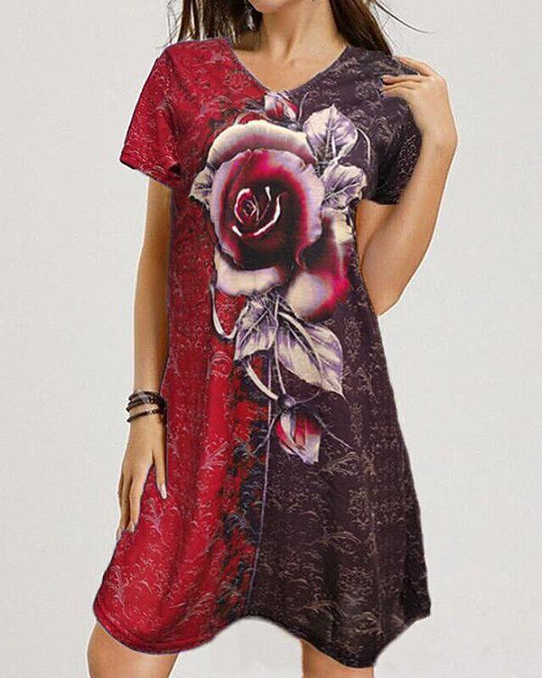 V-neck Loose Rose Print Short Sleeve Dress